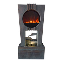 "Lamps Plus - Cascading Outdoor LED Fireplace Fountain - This amazing LED fireplace fountain combination will add atmosphere and style to your exterior. The LED lighting element simulates the look of real fire - without any fuel or gel. The fountain runs off electricitysimply plug it in and enjoy the beauty of fire and the soothing flow of cascading water. A wonderful addition to a patio outside dining area or any exterior space. LED fireplace and fountain in one. Includes LED lighting module that replicates real fire. Cascading fountain design. Fiberglass construction. Designed for outdoor use. Runs on electricity. Includes 6' of cord. 37"" high. 19"" wide. 12"" deep.  LED fireplace and fountain in one unit.  Includes LED lighting module that replicates real fire.  Cascading fountain design.  Fiberglass construction.  Designed for outdoor use.  Runs on electricity.  Includes pump 6' of cord.  37"" high.  19"" wide.  12"" deep."