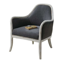 "Uttermost Dayla Indigo Accent Chair - Ultimate casual comfort in a washed indigo, slubbed linen seat, crusted ivory accent nails, and whitewashed pine frame.  Outside arms and back are supple faux leather. Ultimate casual comfort in a washed indigo, slubbed linen seat with crusted ivory accent nails and whitewashed pine frame. Outside arms and back are supple faux leather. Seat height is 19""."