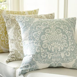 "Lucianna Medallion Pillow Cover, 24"" sq., Neutral - Screen printed by hand, this elaborate design is based on a 15th-century Italian damask woven for royalty. 24"" square Made of a cotton/linen blend. Reverses to self. Zipper closure. Down-blend insert sold separately. Machine wash. Imported."