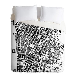 DENY Designs - CityFabric Inc NYC White Duvet Cover - Turn your basic, boring down comforter into the super stylish focal point of your bedroom. Our Luxe Duvet is made from a heavy-weight luxurious woven polyester with a 50% cotton/50% polyester cream bottom. It also includes a hidden zipper with interior corner ties to secure your comforter. It's comfy, fade-resistant, and custom printed for each and every customer.