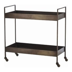 Ponce Iron Bar Cart - Simple, sleek and timeless, this piece has a nice deep edge to keep everything in place.