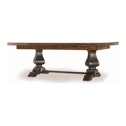 Hooker - Hooker Dining Room Sanctuary Refectory Dining Table 3005-75207 - This trendy refectory table is perfect for your family dinners, base is in ebony finish and has two trestles joined with a wooden stretcher adds a medieval ambiance in your dinning room. Its long and narrow top is in drift finish, with extendable leaves that can accommodate more seats. Made from durable materials of hardwood and oak veneers a perfect display of your good taste