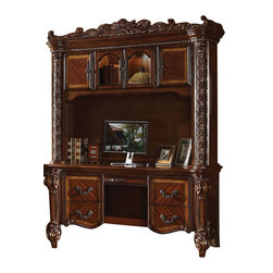 ACME - Acme Vendome Bookcase with Intricate Carving Design in Cherry - This Vendome Bookcase with intricate Carving design by Acme Furniture is a large storage piece ideal for a traditional home office. Use shelves, drawer and doors to hold office supplies, special keepsakes, computer accessories and so much more. Carved details alone the sides, radiating veneers and a cherry finish all come together to bring you a piece that can transform a drab home office in to a place where you can get important work done in a great looking space.