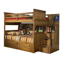 Legacy Classic Kids - Legacy Classic Kids Timber Lodge Full over Twin Bunk Bed with Trundle and Bedsid - Legacy Classic Kids Timber Lodge Full over Twin Bunk Bed with Trundle and Bedside Storage 2961-8508K