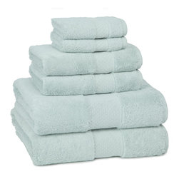 Kassatex - Kassatex Elegance Collection 6 pc. Set, Seafoam - Calgon, take me away! The extra fluff and absorbency of this luxurious towel set will leave you daydreaming about your next shower all day long. Who knew cotton could be so seductive?