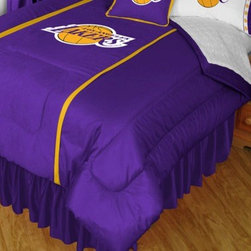 Sports Coverage - NBA Los Angeles Lakers Sidelines Comforter and Sheet Set Combo - Queen - This is a great NBA Los Angeles Lakers Bedding Comforter and Sheet set combination! Buy this Microfiber Sheet set with the Comforter and save off our already discounted prices. Show your team spirit with this great looking officially licensed Comforter which comes in new design with sidelines. This comforter is made from 100% Polyester Jersey Mesh - just like what the players wear. The fill is 100% Polyester batting for warmth and comfort. Authentic team colors and logo screen printed in the center.   Microfiber Sheet Hem sheet sets have an ultrafine peach weave that is softer and more comfortable than cotton.  Its brushed silk-like embrace provides good insulation and warmth, yet is breathable.  The 100% polyester microfiber is wrinkle-resistant, washes beautifully, and dries quickly with never any shrinkage. The pillowcase has a white on white print beneath the officially licensed team name and logo printed in vibrant team colors, complimenting the NEW printed hems. The Teams are scoring high points with team-color logos printed on both sides of the entire width of the extra deep 4 1/2 hem of the flat sheet.  Includes:  -  Flat Sheet - Twin 66 x 96, Full 81 x 96, Queen 90 x 102.,    - Fitted Sheet - Twin 39 x 75, Full 54 x 75, Queen 60 X 80,    -  Pillow case Standard - 21 x 30,    - Comforter - Twin 66 x 86, Full/Queen 86 x 86,
