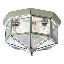 Progress Lighting - Progress Lighting P5788-09 Beveled Glass 3 Light Flush Mount Ceiling Light - Progress Lighting P5788-09 Beveled Glass 3 Light Flush Mount Ceiling Light In Brushed Nickel