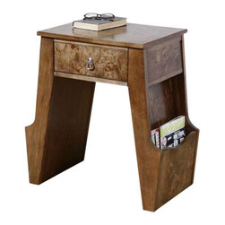 Uttermost Dinsmore Wooden Magazine Table - Glowing, figured burl and birch veneer with dovetail drawer and side panels to hold books or magazines.  Polished nickel drawer pull. Glowing, figured burl and birch veneer with dovetail drawer and side panels to hold books or magazines. Polished nickel drawer pull.