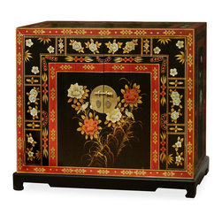 China Furniture and Arts - Hand Painted Tibetan Chest - The ornate style of this elegant two door chest is adopted from Tibetan artwork. Providing roomy storage space, this piece looks and functions great in the dining room, foyer or library. Antique brass finish door pulls are in unity with the entire work. Removable shelf behind the doors for your convenience. Perfect as a sideboard in the dining room or media cabinet in the living room. Matching mirror available, see Part No. MMI05BOM-WG.