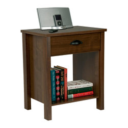 Venture Horizon - Venture Horizon Walnut Finish Nouvelle Nightstand - Spruce up your bedroom with this stylish tall nightstand from Venture Horizon. This nightstand features a beautiful walnut finish and a spacious drawer. This classically designed stand has more than enough room for your nighttime books.