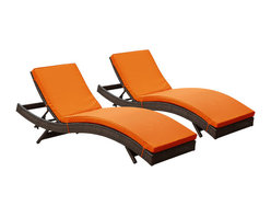 Modway Furniture - Modway Peer Chaise Set of 2 in Brown Orange - Chaise Set of 2 in Brown Orange belongs to Peer Collection by Modway Don't let moments of relaxation elude you. Peer is a serenely pleasant piece comprised of all-weather cushions and a rattan base. Perfect for use by pools and patio areas, chart the waters of your imagination as you recline either for a nap, good read, or simple breaths of fresh air. Moments of personal discovery await with this chaise lounge that has fold away legs for easy storage or stackability with other Peer lounges. Set Includes: Two - Peer Outdoor Wicker Chaise Chaise (2)