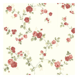Brewster Home Fashions - Cornelia Red Rose Trail Wallpaper. - Red bursts of rose trails sweep across this magnificent wall covering to transform your home into a beautiful floral escape. Subtle pearlescent leaves float on a soft cream backdrop bringing to your walls a new romantic charm.