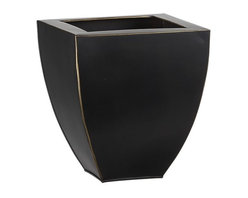 Small Bronze Tapered Planter - Handcrafted squares curve in oxidized copper-plated iron and brass to add rustic yet contemporary charm to the patio or garden.