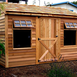 Cedarshed Haida Shed - This cedar shed is a classic shed with sustainable materials. They have great big windows that open up to the garden. Use it as a workshed, home office or shop.