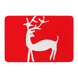 """KESS InHouse - Miranda Mol """"Reindeer Red"""" Holiday Memory Foam Bath Mat (17"""" x 24"""") - These super absorbent bath mats will add comfort and style to your bathroom. These memory foam mats will feel like you are in a spa every time you step out of the shower. Available in two sizes, 17"""" x 24"""" and 24"""" x 36"""", with a .5"""" thickness and non skid backing, these will fit every style of bathroom. Add comfort like never before in front of your vanity, sink, bathtub, shower or even laundry room. Machine wash cold, gentle cycle, tumble dry low or lay flat to dry. Printed on single side."""