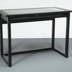 Office Star Products - Meridian Tempered Glass Top Computer Desk - This sleek and stylish tempered-glass computer desk is just the right size for a bedroom or living room. With a black wood finish, this 42-inch wide desk features a pull-out keyboard tray with additional storage space for office necessities.