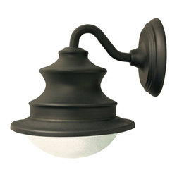 Gama Sonic Barn Solar Light Fixture with 6 Bright-White - The Gama Sonic GS-122 Barn solar outdoor light fixture is a stylish LED wall light that adds distinction to your home, shed, barn, greenhouse, storage unit, or garage. The rust-resistant cast-aluminum light fixture sports a matte brown powder-coated finish, a glass dome that looks hand blown with its attractive bubbled appearance, and a gooseneck wall mount. It installs easily on any surface, and no electrical wiring is required. The barn light's internal Lithium Ion battery pack charges when sunlight hits the included solar panel, which can be placed up to eight feet away from the light fixture for optimal sun exposure. At sundown, six bright-white integrated LEDs will turn on automatically and shine at a brightness of 100 lumens. The fixture is designed for dusk-to-dawn performance when its battery has been fully charged during the daytime. With proper setup for optimal sun exposure, a sunny day without cloud cover should be sufficient to provide a full recharge. Recharging speed will vary based on weather conditions, but no charging will occur if direct sun does not shine on the solar panel. Do not locate the panel in a shaded area. The barn light's monocrystalline silicon solar panel measures seven inches long and wide and half an inch thick. It is protected by weather-resistant, cleanable tempered glass that helps ensure the panel's long-lasting reliability. The light's replaceable, plugged battery pack is good for about 1,000 charges. At Gama Sonic, our goal is to build the world's best solar lights.