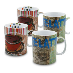 Konitz - Set of 4 Mugs Fresh Brew Latte/Coffee - There's nothing like a fresh pot of coffee in the morning. Enjoy your fresh brew from these coffee-house style mugs.