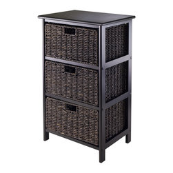 "Winsomewood - Omaha Storage Rack with 3 Foldable Baskets - Simple with plenty of storage for this Omaha storage rack with foldable baskets. Choose from 2, 3 or 4 baskets rack. Baskets open size is 13.98""W x 10.63""D x 7.48""H and Folded size is 23.03"" x 9.84"" x 1.97"". Overall 3 Baskets storage rack size is 16.73""W x 12.40""D x 28.54""H and finished in Black color. Rack is made with combination of solid and composite wood. Basket is corn husk. Assembly require."