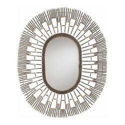 Arteriors - Frigg Mirror - A burst of stylized open metal rays gives this oval mirror a bright, deco-like radiance. The intricate wire design has a natural iron finish accented with brass for a little metallic shimmer. Try it on a colored wall to enhance the open lace effect. You can hang it horizontally or vertically, or even use it as a decorative tray.