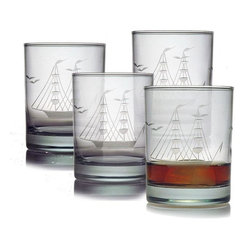 Susquehanna Glass Clipper Ship Double Old Fashion Glasses (Set of 4)