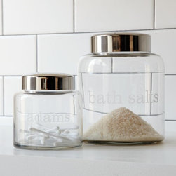 Apothecary Jars - These simple apothecary jars would be pretty monogrammed. I also like the idea of labeling them with their contents for graphic pops on a bathroom shelf.