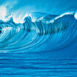 The Wave Wall Mural - A large ocean wave rises high in this vivid 4-piece wall mural.