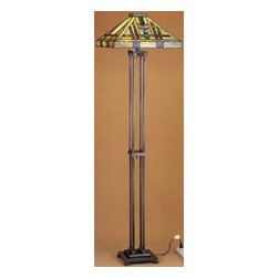 Meyda Tiffany - Meyda Tiffany 28326 Stained Glass / Tiffany Floor Lamp Prairie Wheat Co - Arts & Crafts MissionFloor Lamp2 Medium base bulbs, 60w (max)