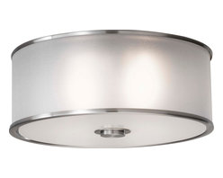Murray Feiss - Murray Feiss FM291BS Casual Luxury Transitional Flush Mount Ceiling Light - Whether your decorating theme is traditional or contemporary, there is a place for this unique and stunning collection. The organza shades and brushed steel finish demand attention to the fine details of these fixtures. The wall brackets and sconces have a dual back plate for a dimensional design accent, and spun metal trim rings at the top and bottom of the shade lend a finishing touch. All of the shades on these wonderful fixtures are enclosed at the bottom for a lovely casting of light.