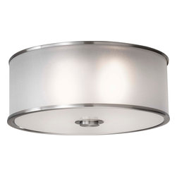 Murray Feiss - Murray Feiss Casual Luxury Transitional Flush Mount Ceiling Light X-SB192MF - The Murray Feiss Casual Luxury Transitional flush mount ceiling light is a versatile piece that can complement any decorating theme. The ceiling light features a silver organza hardback shade with fabric in a drum-like shape. The brushed steel finish in the rims and finial presents a modern look with subtle sophistication.