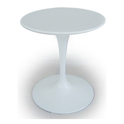 "Kardiel Tulip Style Round Table White Fiberglass, 28″ Diameter - Does it get any more ""Eero Saarinen"" than the Tulip Chair and Table series? It should come as no surprise that an artists work is their signature. Comparing the tulip table and chairs, created in 1964/65 respectively, it is not difficult to see the relationship to Eero's other furniture pieces. A similar styling can be found in Eero Aarnio' ball chair. Not only did they share the same first name but a similar design flair. While available in many colors today, the original Tulip chair exclusively featured red wool fabric cushions. The chairs feature pure solid white molded fiberglass shells that rest on a aluminum cast base. Smooth with a gloss sheen and seamless appearing in design. The Tulip Chair went on to star in none other than Gene Rodenberry's Star Trek between 1966 and 1969. The bridge chairs were tulip chairs, with a slight modification. After the series ended, a few were salvaged. One recently auctioned for more than $18,000."
