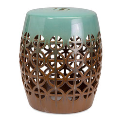 Room-33 - Fretwork Ceramic Garden Stool - An open fretwork design combined with trend setting shades of light blue and brown chocolate for a ceramic garden stool with a light and airy look and feel