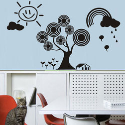 ColorfulHall Co., LTD - Tree Wall Decals DIY Removable Sun Rainbow House , Black - Tree Wall Decals DIY Removable Sun Rainbow House