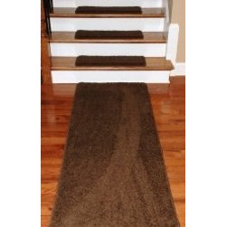 "Dean Flooring Company - Dean Premium DIY Carpet Stair Treads 27"" x 9"" Timberline 70 Oz (13) PLUS Runner - Dean Premium Serged DIY Carpet Stair Treads 27"" x 9"" Timberline 70 Oz (13) PLUS a Matching 6' Runner : Quality, Stylish Carpet Stair Treads by Dean Flooring Company. Extend the life of your high traffic hardwood stairs. Reduce slips/increase traction (treads must be properly secured to your stairs). Cut down on track-in dirt. Great for pets and pet owners. Luxuriously soft 70 ounce stain and spill resistant PLUSH carpeting Set includes 13 carpet stair treads PLUS one roll of double-sided carpet tape for easy, do-it-yourself installation, AND a matching 27"" x 6' Runner. Edges are finished (serged) with attractive color matching yarn. No bulky fastening strips. You may remove your treads for cleaning and re-attach them when you are done. Add a touch of warmth and style to your stairs today with new stair treads from Dean Flooring Company!"
