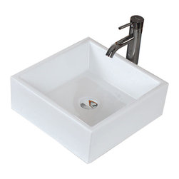 American Imaginations - 15-in. W x 15-in. D Above Counter Square Vessel - It features a square shape. This vessel is designed to be installed as an above counter vessel. It is constructed with ceramic. It is designed for a deck/wall mount faucet. The top features a 6-in. profile thickness. This vessel comes with a enamel glaze finish in White color. Simple and clean rectangular above counter white ceramic vessel. Completely finished from all sides; including back. This Vessel features Chrome hardware. Double fired and glazed for durability and stain resistance. Quality control approved in Canada and re-inspected prior to shipping your order. Faucet and accessories not included.