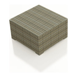 Forever Patio - Hampton Modern Outdoor Coffee Table, Heather Wicker - The Forever Patio Hampton Coffee Table (SKU FP-HAM-CT-HT) makes for the perfect center piece for your sofa or sectional set, providing both style and functionality. The UV-protected, heather wicker sports a flat woven design, creating a contemporary look with clean lines. Each strand of this outdoor wicker is made from High-Density Polyethylene (HDPE) and is infused with its rich color and UV-inhibitors that prevent cracking, chipping and fading ordinarily caused by sunlight. This modern outdoor coffee table is supported by thick-gauged, powder-coated aluminum frames that make it more durable than natural rattan. A tempered glass top is included with this table, adding a touch of modern style to your outdoor dining table.