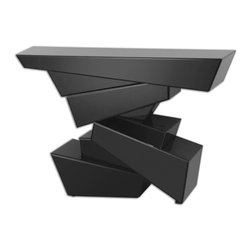 Uttermost - Uttermost Tauri Modern Console Table 24429 - Contemporary table formed of sculptural shapes with facets of sleek, black beveled glass covering every angle.
