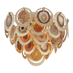 Corbett Lighting - Rock Star Ceiling Flush Mount - Rock Star Ceiling Flush Mount is made of hand crafted iron and features Natural Agate slices surrounded by circles in Gold Leaf finish. Requires four 60 watt 120 volt B10 candelabra base incandescent lamps, not included. Dimensions: 19.25 inch diameter x 15 inch height.
