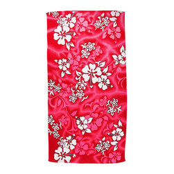 Zeckos - Hot Pink Hibiscus Flowers Reactive Beach Towel 60 In. x 30 In. - This beautiful hot pink and white fiber reactive velour beach towel has a Hibiscus flower print. The towel measures 60 inches long, 30 inches wide, with sewn edges to prevent fraying. It adds a wonderful tropical look to your beach trip.