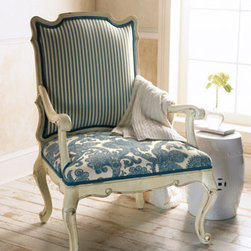 """""""Simone"""" Chair - With the back upholstered in a ticking stripe fabric and the seat covered in a beautiful paisley, this lovely blue and white """"Simone"""" chair will be at home in any decor.  Cabriole legs add style and elegance.    * 25""""W x 22""""D x 23""""T."""