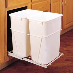 Rev-A-Shelf Double Pull Out Full Extension Slides 35 qt. Trash Can - The Rev-A-Shelf Double Pull-Out Full Extension Slides 35-Quart Trash Can provides the coverage you need in situations that require more than one trash can. The plastic trash can set features heavy-duty wire frame construction full-extension ball bearing slides and easy bottom-mount installation with just four screws. The two durable pull-out waste containers are available in a clean white polymer finish. It arrives fully assembled and carries the standard Rev-A-Shelf lifetime guarantee. Dimensions: 22L x 14.375W x 19.25H inches.Minimum cabinet opening Width: 14.5 inches Depth: 22.125 inches Height: 19.375 inches About Rev-A-ShelfOriginally a division of Ajax Hardware Rev-A-Shelf was established in 1978 as a family-owned manufacturer of a variety of helpful home products. Rev-A-Shelf offers Lazy Susans kitchen drawer organizers cabinet and pantry pull-outs and functional waste containers. All products consist of polymer wire wood and stainless steel components which will seamlessly complement kitchen appliances and accessories. Rev-A-Shelf aims to revolutionize the way kitchens are organized across the country.