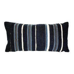 Acapillow - African Indigo Pillow - Vintage African hand-dyed and woven fabric pillow with hemp back and zipper closure.  Care:  Dry-clean only.  Handmade in Santa Monica, California.