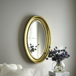 Ballard Designs - Trudeau Oval Mirror - Vintage brass finish. Deeply coved composite frame. Beveled mirror. Hangs both ways. Oval mirrors can soften a room's harder lines while adding a sense of space and light. Our accent-sized Trudeau Mirror stretches the oval shape even further for big impact over a console, at the end of a hall or hanging horizontally over a sofa. Trudeau Duel Mirror features: . . . .