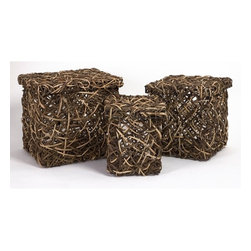 "IMAX CORPORATION - Mixed Rattan Square Boxes - Set of 3 - Set of three lidded storage boxes made of vine and rattan. Comes in various sizes measuring around 14.2""L x 13""W x 14.2""H each. Shop home furnishings, decor, and accessories from Posh Urban Furnishings. Beautiful, stylish furniture and decor that will brighten your home instantly. Shop modern, traditional, vintage, and world designs."