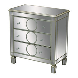 Sterling Industries - Derin 3 Drawer Chest - Silver edged rings add a contemporary slant to this mirrored chest of drawers. Clear crystal handles add an elegant touch to this piece.