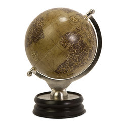 Colombo Large Globe With Nickel And Wood Base - Decorative globe with wood base.
