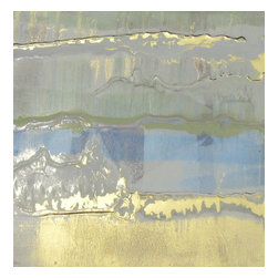 "Mother of Pearl Series: ""Oyster Bed"" by Austin Allen James, 12x16 - From his Mother of Pearl Series, Austin Allen James brings us ""Oyster Bed."" This watery abstract painting features washes of sky blue and silvery gray, with touches of metallic to create an ethereal glow. Subtle layers of olive green and shimmering gold paint invite movement and lyricism to the piece, for which the artist is well known. This mixed media painting on board is coated with a resin clear coat to preserve and enhance the complex layers of this one of a kind abstract. The glossy surface invites the viewer to experience the artwork ""through a looking glass."" This tranquil and meditative painting can easily serve as the foundation of a well appointed roomscape. Choose the ""Oyster Bed"" style in the size of your choosing, with a 2"" depth. Each painting is made to order as a one of a kind commission; inherent variations make each piece it's own unique treasure. Learn more about the artist in his feature as a Moss Manor 2014 Guest Curator."