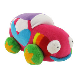 Happy House Love Bug Mini Car Plush Toy - This adorable mini car plush is ready to travel with your toddler, adding a splash of color and a bit of fun to car seats and strollers while you run errands around town. It is 100% polyester and measures 6 1/2 inches long, 4 inches tall, and 4 1/2 inches wide. This plush toy is recommended for all ages, and is machine washable in cold water.