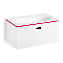 WS Bath Collections - Vanity Unit with One Drawer in White & Fuschi - Modern/contemporary design. Designer high end quality bathroom vanity. Vanity unit with thermoformed washbasin. Made from mattstone panelled and thermoformed washbasin in acrylic. Warranty: One year. Made in Italy. 27.6 in. W x 16.5 in. D x 13 in. H (60 lbs.). No assembly required. Spec SheetLinea; washbasins, washstands, and bathroom furniture, of various sizes and materials. Pureness of glass, polish of steel, and warmth of wood. Perfection of lines, art, and harmony.