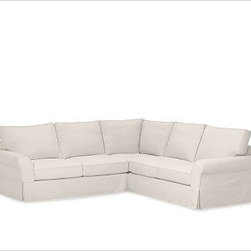 """PB Comfort Roll-Arm 3-Piece L Shaped Sectional Slipcovers, Twill Cream - Designed exclusively for our PB Comfort Sectional, these soft, inviting slipcovers retain their smooth fit and remove easily for cleaning. Left 3-Piece Sectional with Box Cushions shown. Select """"Living Room"""" in our {{link path='http://potterybarn.icovia.com/icovia.aspx' class='popup' width='900' height='700'}}Room Planner{{/link}} to select a configuration that's ideal for your space. This item can also be customized with your choice of over {{link path='pages/popups/fab_leather_popup.html' class='popup' width='720' height='800'}}80 custom fabrics and colors{{/link}}. For details and pricing on custom fabrics, please call us at 1.800.840.3658 or click Live Help. All slipcover fabrics are hand selected for softness, quality and durability. Left-arm configuration is shown; also available in right-arm configuration. {{link path='pages/popups/sectionalsheet.html' class='popup' width='720' height='800'}}Left-arm or right-arm configuration{{/link}} is determined by the location of the arm on the love seat as you face the piece. This is a special-order item and ships directly from the manufacturer. To see fabrics available for Quick Ship and to view our order and return policy, click on the Shipping Info tab above. Watch a video about our exclusive {{link path='/stylehouse/videos/videos/pbq_v36_rel.html?cm_sp=Video_PIP-_-PBQUALITY-_-SUTTER_STREET' class='popup' width='950' height='300'}}North Carolina Furniture Workshop{{/link}}."""